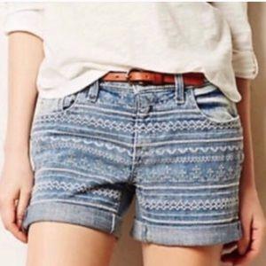Anthro Pilcro Embroidered Stet Midi Shorts Cuffed